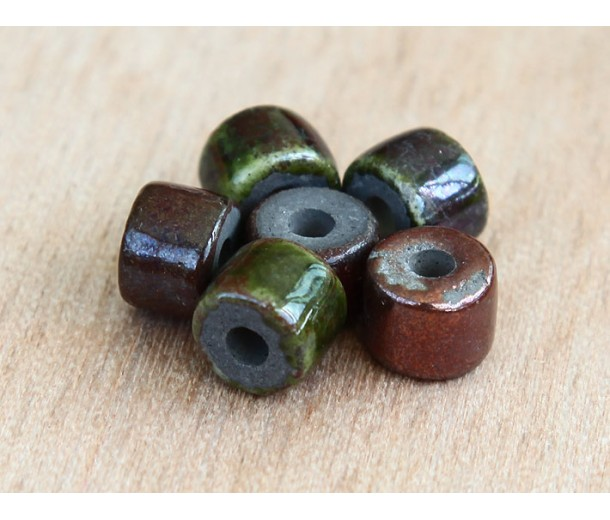 8x7mm Short Barrel Raku Ceramic Beads, Forest