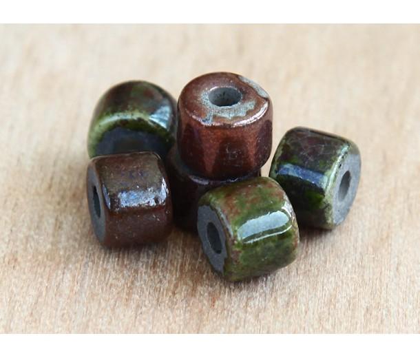 8x7mm Short Barrel Raku Ceramic Beads, Forest