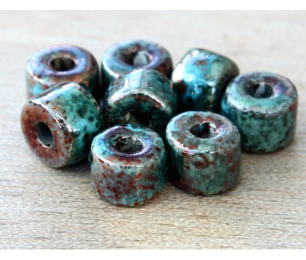 8x7mm Short Barrel Raku Ceramic Beads, Sea Copper
