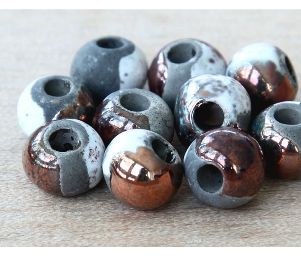 8mm Round Raku Ceramic Beads, Tricolor