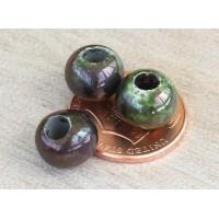 8mm Round Raku Ceramic Beads, Forest