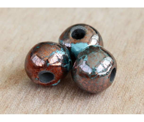 8mm Round Raku Ceramic Beads, Sea Copper