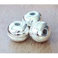 16mm Grooved Round Metalized Ceramic Bead, Silver Plated