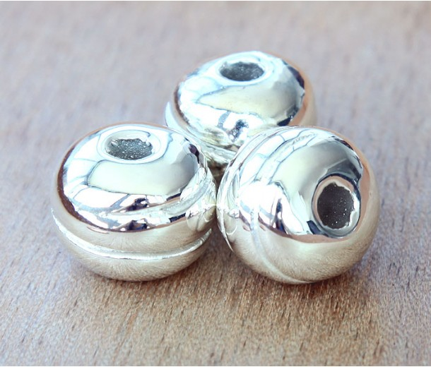 16mm Grooved Round Metalized Ceramic Bead, Silver Plated, 1 Piece