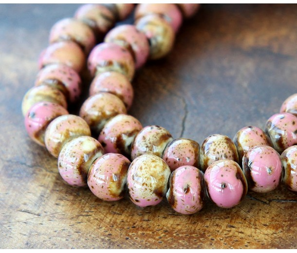7mm Rondelle Ceramic Beads, Beige Pink