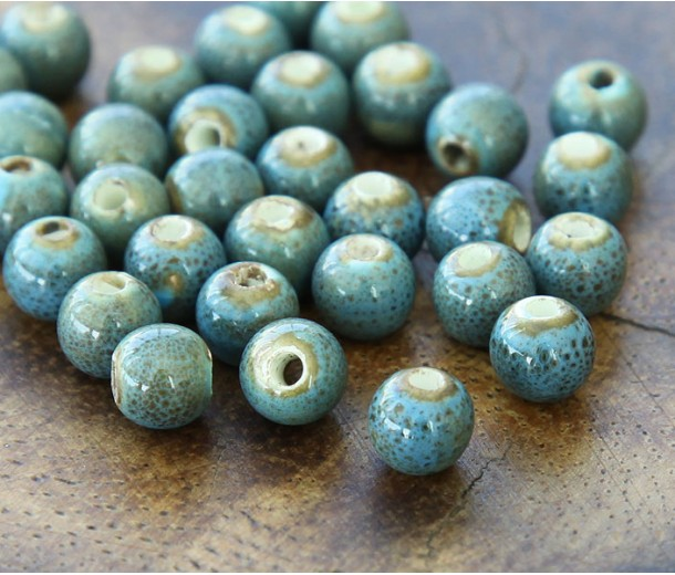 6mm Round Ceramic Beads, Medium Blue, Pack of 20