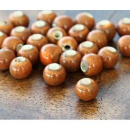 6mm Round Ceramic Beads, Orange and Brown