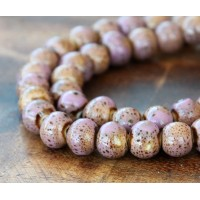 8mm Round Ceramic Beads, Light Purple