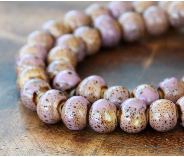 8mm Round Ceramic Beads, Light Purple