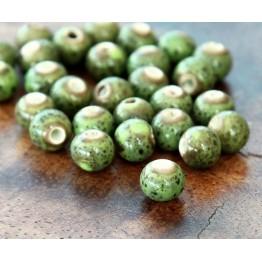 6mm Round Ceramic Beads, Leaf Green