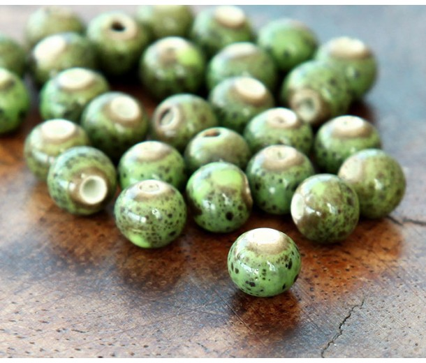 6mm Round Ceramic Beads, Leaf Green