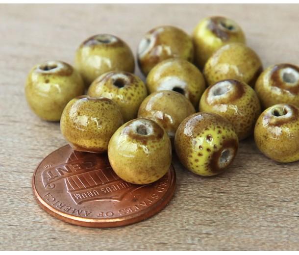 8mm Round Ceramic Beads, Mustard Yellow, Pack of 20