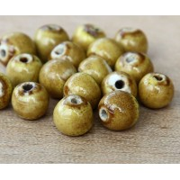 6mm Round Ceramic Beads, Mustard Yellow, Pack of 20