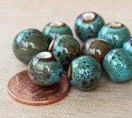 10mm Round Ceramic Beads, Blue Green