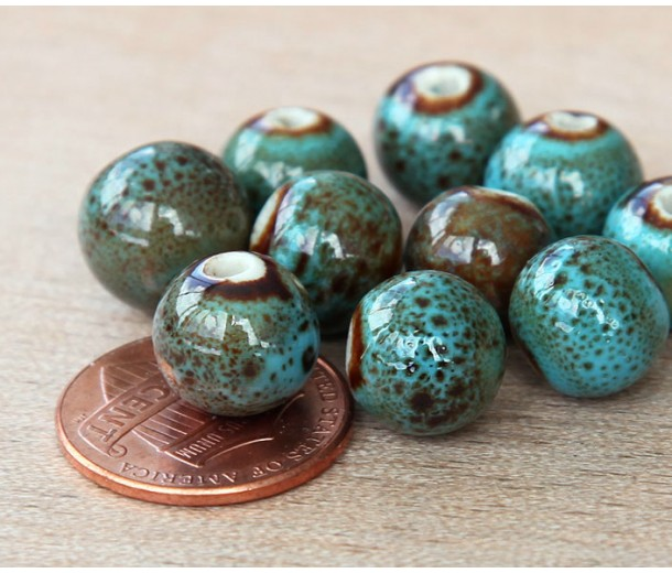 10mm Round Ceramic Beads, Blue Green