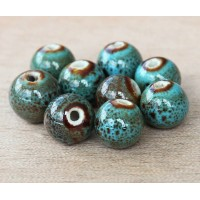8mm Round Ceramic Beads, Blue Green