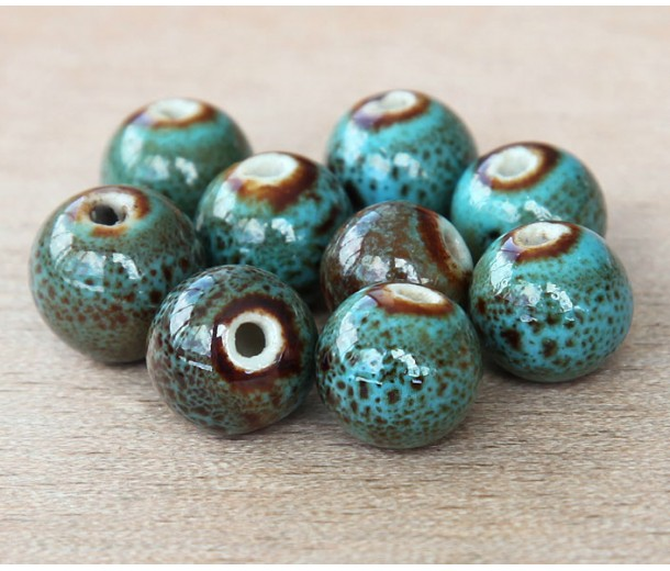 8mm Round Ceramic Beads, Teal Blue