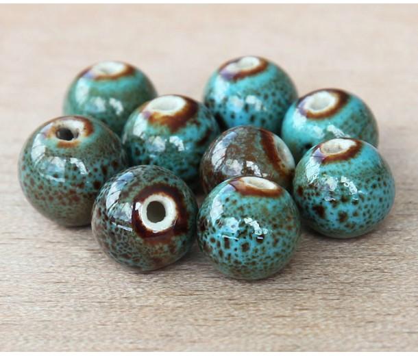 8mm Round Ceramic Beads, Blue Green