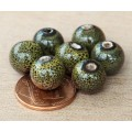 10mm Round Ceramic Beads, Dark Olive Green, Pack of 20