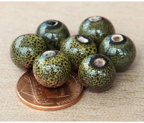 10mm Round Ceramic Beads, Dark Olive Green, Pack of 20