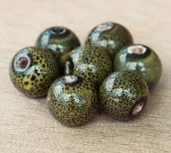 10mm Round Ceramic Beads, Dark Olive Green