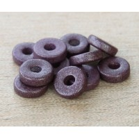 8mm Round Heishi Disk Matte Ceramic Beads, Purple Metallic