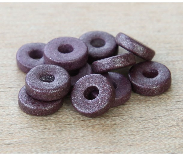 8mm Round Heishi Disk Matte Ceramic Beads, Purple Metallic, Pack of 20