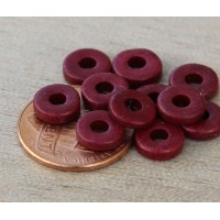 8mm Round Heishi Disk Matte Ceramic Beads, Dark Red, Pack of 20