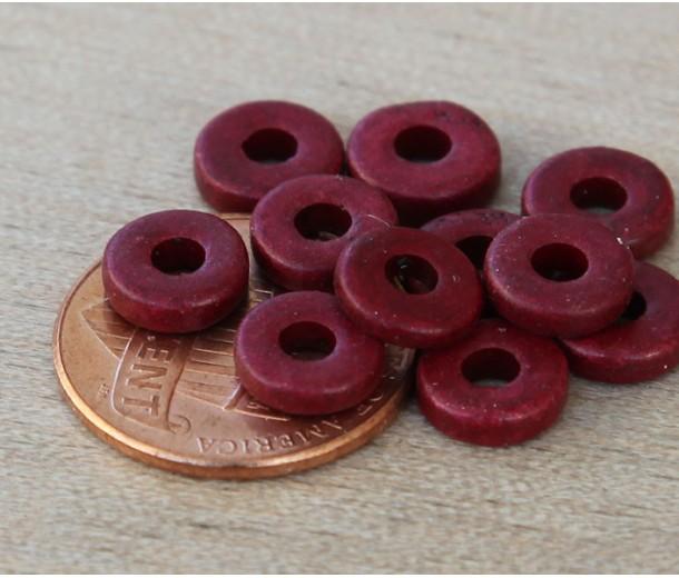 8mm Round Heishi Disk Matte Ceramic Beads, Dark Red, Pack of 20