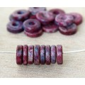 8mm Round Heishi Disk Matte Ceramic Beads, Fancy Purple Mix, Pack of 20