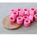6x4mm Mini Barrel Matte Ceramic Beads, Neon Pink, Pack of 20