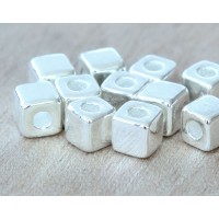 7mm Cube Metalized Ceramic Beads, Silver Plated, Pack of 10