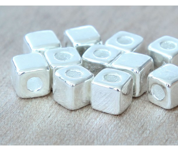 7mm Cube Metalized Ceramic Beads, Silver Plated