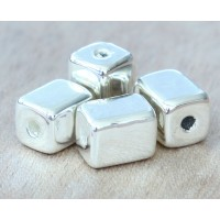 10x8mm Brick Metalized Ceramic Beads, Silver Plated, Pack of 4