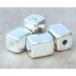 10x8mm Brick Metalized Ceramic Beads, Silver Plated