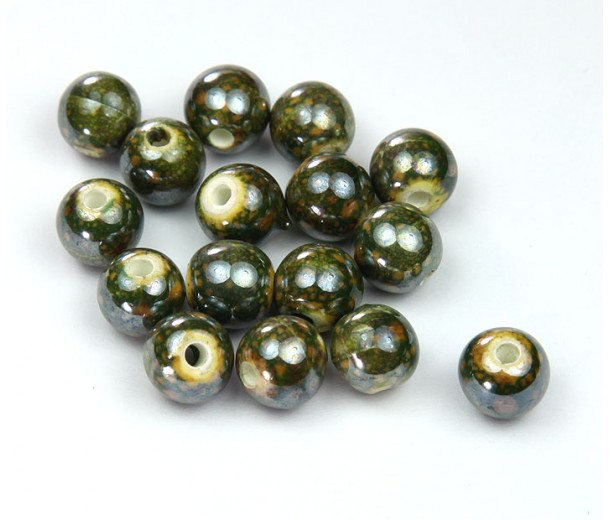 8mm Round Ceramic Beads, Spotted Green