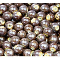 8mm Round Ceramic Beads, Spotted Brown, Pack of 20