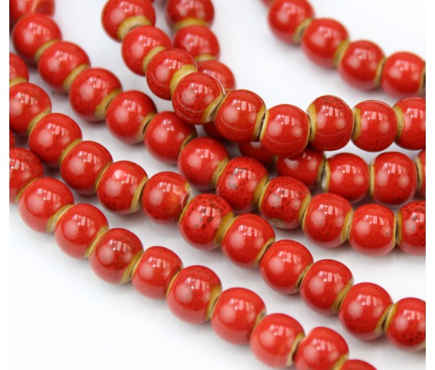 6mm Round Ceramic Beads, Tomato Red