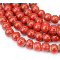 8mm Round Ceramic Beads, Tomato Red