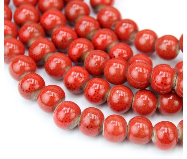 8mm Round Ceramic Beads, Tomato Red