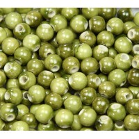 8mm Round Ceramic Beads, Light Olive Green