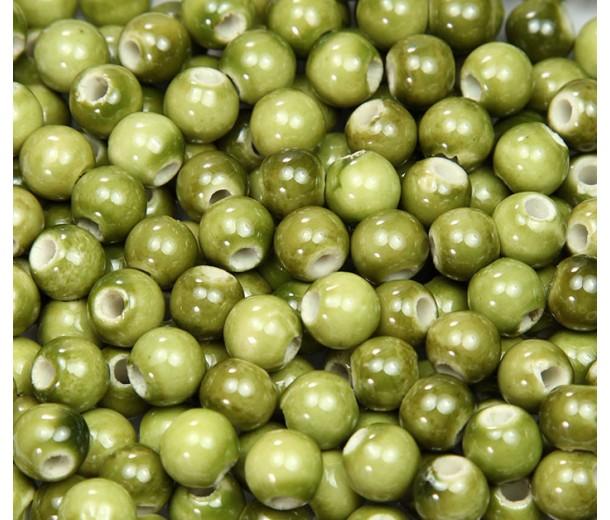 8mm Round Ceramic Beads, Light Olive Green