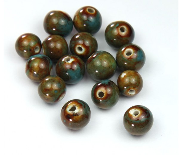 8mm Round Ceramic Beads, Teal Brown
