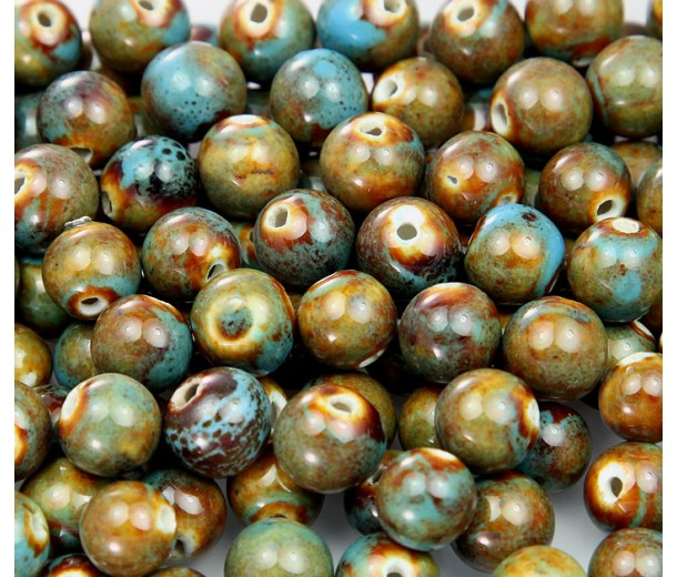 8mm Round Ceramic Beads, Teal Brown, Pack of 20