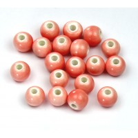 6mm Round Ceramic Beads, Soft Pink