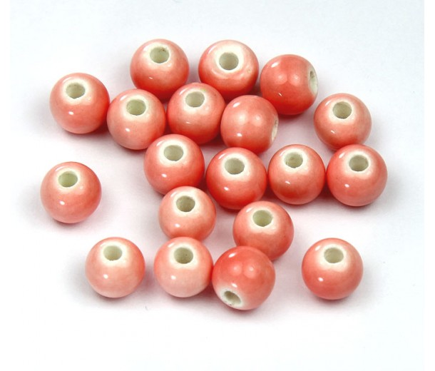 6mm Round Ceramic Beads, Soft Pink, Pack of 20