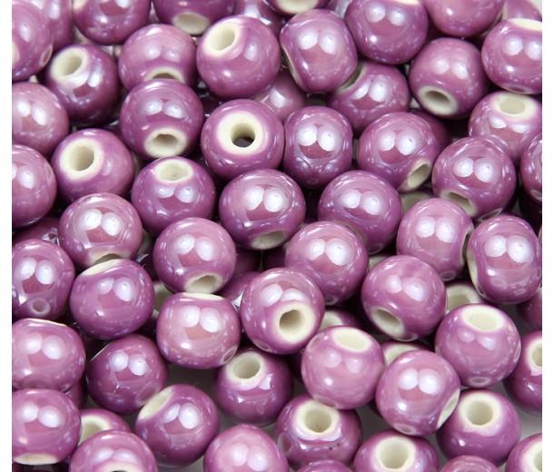 8mm Round Ceramic Beads, Medium Orchid