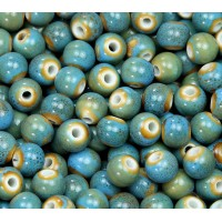 8mm Round Ceramic Beads, Light Teal Blue