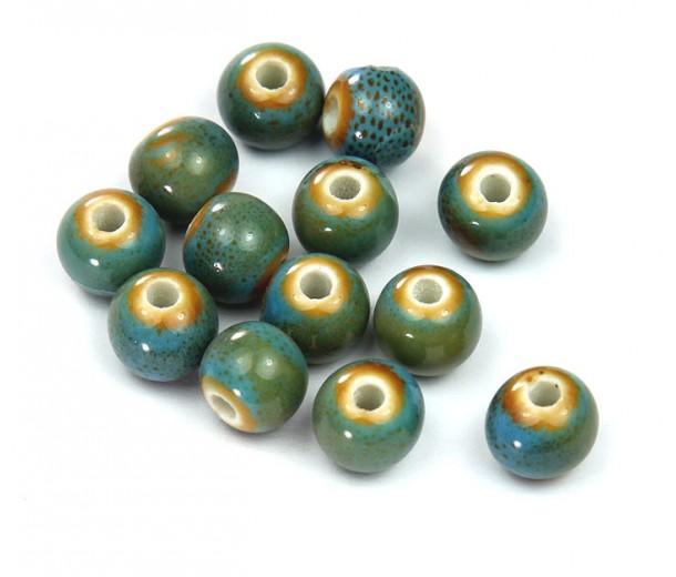 8mm Round Ceramic Beads, Light Teal Blue