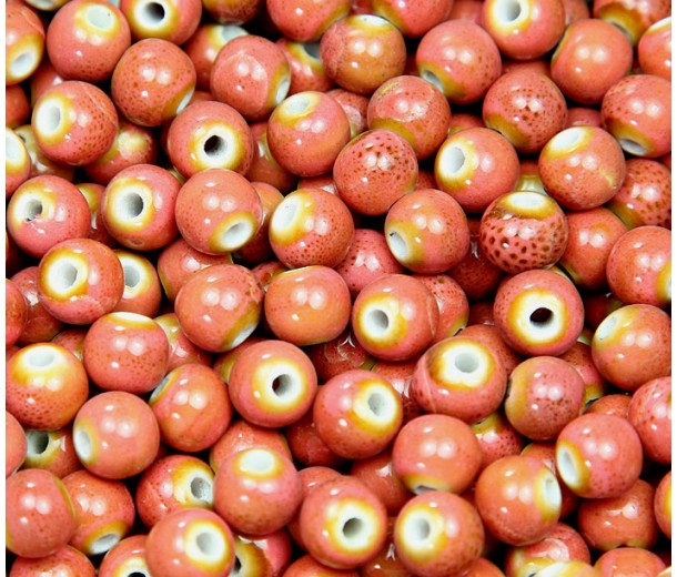 8mm Round Ceramic Beads, Coral Red
